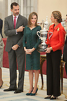 King Felipe VI of Spain, Queen Letizia of Spain and Enfant Elena of Spain attend the 2013 Sports National Awards ceremony at El Pardo palace in Madrid, Spain. December 03, 2014. (ALTERPHOTOS/Victor Blanco)