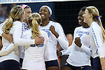 10 September 2015: UNC players celebrate winning a point. The University of North Carolina Tar Heels hosted the Stanford University Cardinal at Carmichael Arena in Chapel Hill, NC in a 2015 NCAA Division I Women's Volleyball contest. North Carolina won the match 25-17, 27-25, 25-22.