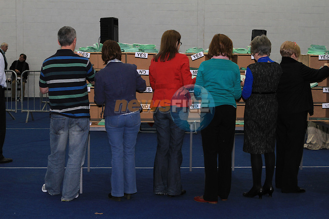 Votes for the referendum are sorted at  Donaghmore Ashbourne GAA 28/10/11..(Photo credit should read Jenny Matthews www.newsfile.ie)....This Picture has been sent you under the conditions enclosed by:.Newsfile Ltd..The Studio,.Millmount Abbey,.Drogheda,.Co Meath..Ireland..Tel: +353(0)41-9871240.Fax: +353(0)41-9871260.GSM: +353(0)86-2500958.email: pictures@newsfile.ie.www.newsfile.ie.