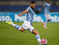 Calcio, Serie A: Lazio vs Udinese. Roma, stadio Olimpico, 13 settembre 2015.<br /> Lazio&rsquo;s Antonio Candreva in action during the Italian Serie A football match between Lazio and Udinese at Rome's Olympic stadium, 13 September 2015.<br /> UPDATE IMAGES PRESS/Isabella Bonotto