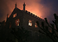 Bmth News (01202 558833)<br /> Pic:  CraigBaker/DWFRS/BNPS<br /> <br /> An historic stately home that burned to the ground in a devastating arson attack has been put up for sale for &pound;3m - &pound;12m less than what it was worth.<br /> <br /> Grade I listed Parnham House, near Beaminster, Dorset, is now just a charred shell of the magnificent mansion it once was.<br /> <br /> It was destroyed in the huge blaze in April last year and its millionaire owner, hedge fund manager Michael Treichl, was arrested on suspicion of starting the fire.<br /> <br /> But while on police bail, Mr Treichl, 69, was found drowned in Lake Geneva, Switzerland, in an apparent suicide.<br /> <br /> Despite initial vows by the family that they would rebuild the 500-year-old home, receivers have been brought in by the mortgage lenders to sell what remains of the property.