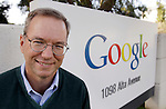Google CEO Eric Schmidt smiles outside of Google headquarters in Mountain View, Calif., Wednesday, Jan. 19, 2011. Internet search leader Google Inc. is scheduled to report its fourth-quarter earnings Thursday, Jan. 20, 2011, after the stock market closes. (AP Photo/Paul Sakuma)