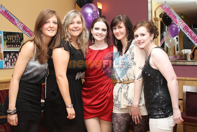 Cathy McGlynn with friends Amy O'Brien, Callie Roche McGuirk, Emma Nelson and Helen O'Shea at her 21st in The Thatch....(Photo credit should read Jenny Matthews www.newsfile.ie)....This Picture has been sent you under the conditions enclosed by:.Newsfile Ltd..The Studio,.Millmount Abbey,.Drogheda,.Co Meath..Ireland..Tel: +353(0)41-9871240.Fax: +353(0)41-9871260.GSM: +353(0)86-2500958.email: pictures@newsfile.ie.www.newsfile.ie.