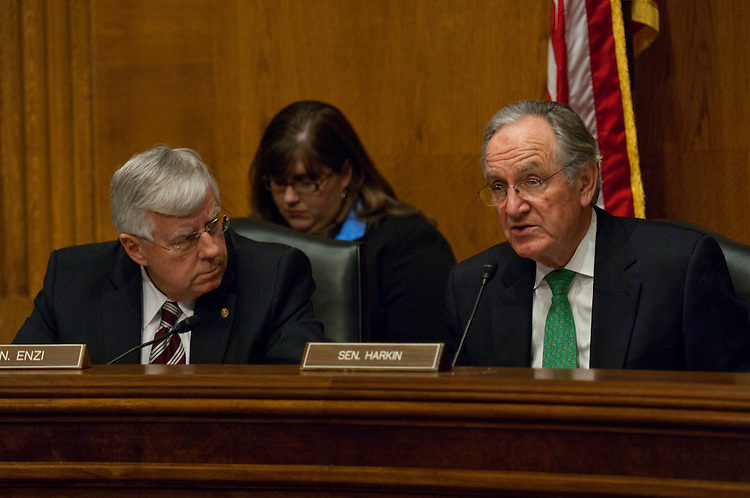 WASHINGTON, DC - March 09: Ranking member Michael B. .Enzi, R-Wyo., and Chairman Tom Harkin, D-Iowa, during the Senate Health, Education, Labor and Pensions hearing on the reauthorization of the Elementary and Secondary Education Act. (Photo by Scott J. Ferrell/Congressional Quarterly)