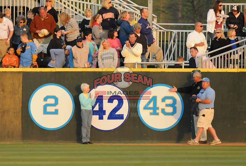 April 9, 2009: The Myrtle Beach Pelicans, Class A affiliate of the Atlanta Braves, honored the memory of longtime pitching coach Bruce Dal Canton by retiring his number 43 in pregame ceremonies  at BB&T Coastal Field in Myrtle Beach, S.C. Dal Canton's widow, Helene, is at left. Photo by:  Tom Priddy/Four Seam Images