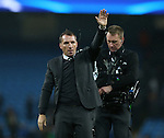 Brendan Rogers manager of Celtic acknowledges the fans during the Champions League Group C match at the Etihad Stadium, Manchester. Picture date: December 6th, 2016. Pic Simon Bellis/Sportimage
