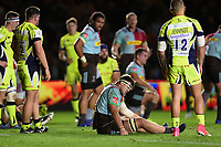 Jack Clifford of Harlequins suffers an injury. Aviva Premiership match, between Harlequins and Sale Sharks on October 6, 2017 at the Twickenham Stoop in London, England. Photo by: Patrick Khachfe / JMP