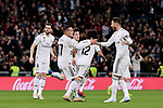 Real Madrid's Lucas Vazquez (L) and Sergio Ramos (R) celebrate goal during Copa del Rey match between Real Madrid and Girona FC at Santiago Bernabeu Stadium in Madrid, Spain. January 24, 2019. (ALTERPHOTOS/A. Perez Meca)