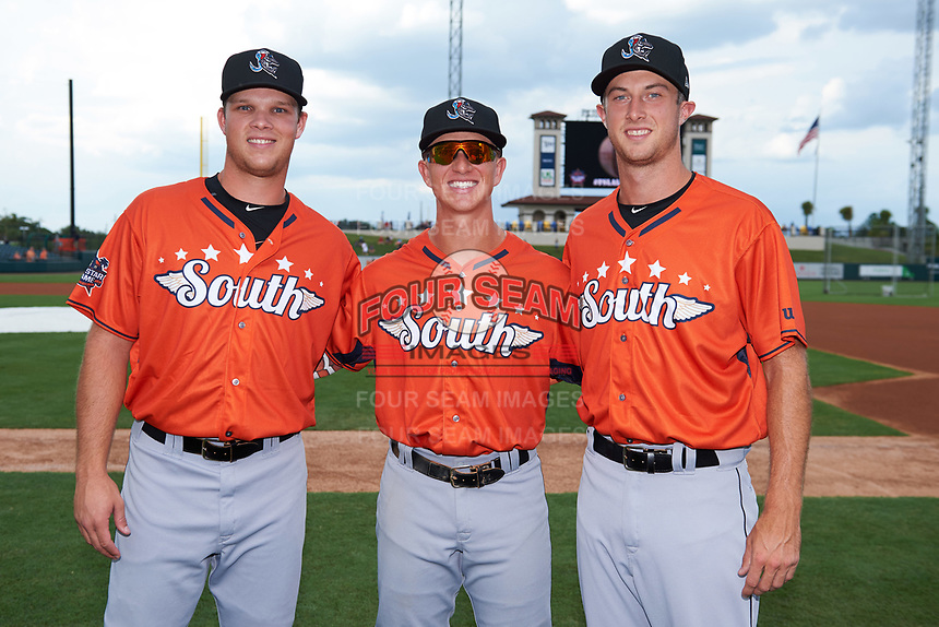Jupiter Hammerheads pitcher Jeff Kinley (left), outfielder Kyle Barrett (center), and pitcher Trevor Richards (right) pose for a photo before the Florida State League All-Star Game on June 17, 2017 at Joker Marchant Stadium in Lakeland, Florida.  FSL North All-Stars  defeated the FSL South All-Stars  5-2.  (Mike Janes/Four Seam Images)
