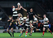 4th November 2017, Twickenham Stadium, Twickenham, England; Autumn International Rugby, Barbarians versus New Zealand; George Bridge of Barbarians and Vaea Fifita of New Zealand both leap to catch the ball