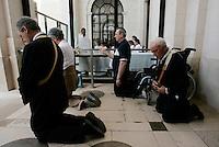 Fatima's pilgrims reacts at Fatima Sanctuary in central Portugal