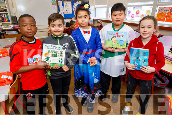 Moyderwell NS 2nd class students,Adedanola Cole, Antonia Moisa, Maureen O'Callaghan, Kaleb Ycasas and Freya Dennehy dressed as their favourite book character at the school on Friday.