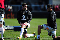 Matt Banahan of Bath Rugby looks on during the pre-match warm-up. Aviva Premiership match, between Exeter Chiefs and Bath Rugby on February 28, 2016 at Sandy Park in Exeter, England. Photo by: Patrick Khachfe / Onside Images