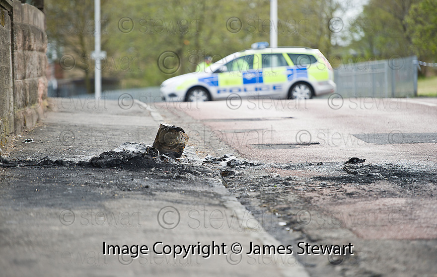 Bonkle Road in Newmains where a burnt out vehicle, suspected in being involved in the incident which led to the death of Frank Baxter, was found ......