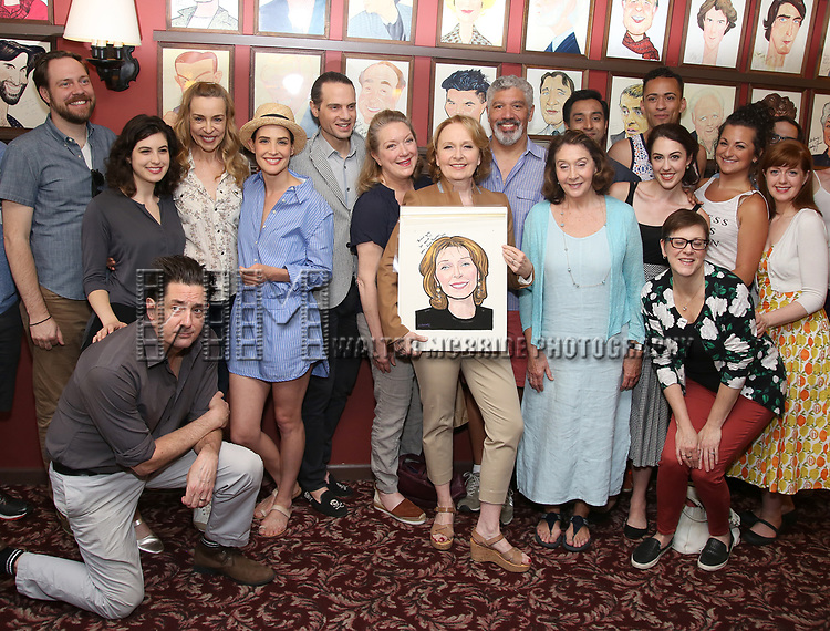 Moritz von Stuelpnagel, Reg Rogers, Tedra Millan, Ellen Harvey, Cobie Smulders, Jordan Roth and Kate Burton with the cast of 'Present Laughter' attend the Sardi's Caricature Unveiling for Kate Burton joining the Legendary Wall of Fame at Sardi's on June 28, 2017 in New York City.  attend the Sardi's Caricature Unveiling for Kate Burton joining the Legendary Wall of Fame at Sardi's on June 28, 2017 in New York City.