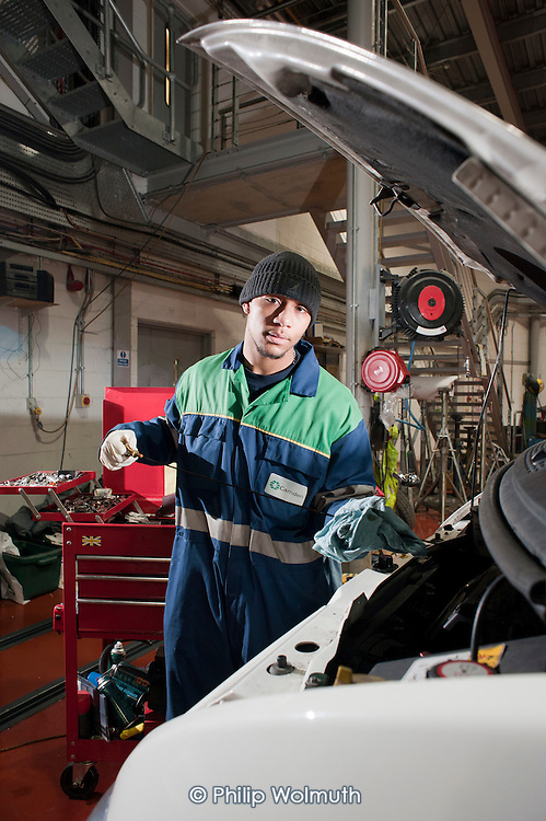 Reiss Fraser, apprentice mechanic at Camden Transport Services.