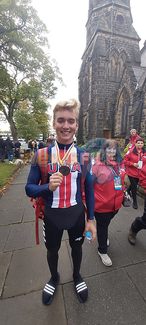 Bronze medal for Magnus Sheffield of USA after finishing 3rd in the Men's Junior Road Race of the UCI World Championships 2019 running 148km from Richmond to Harrogate, England. 26th September 2019.<br />