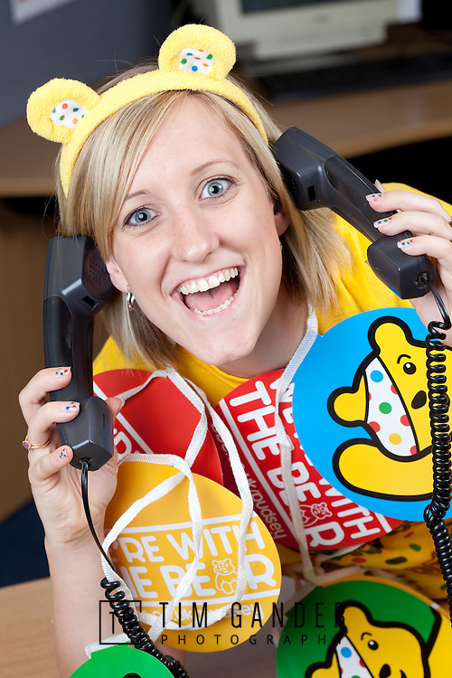 18/11/2011 .Travis Perkins colleague Emma Bowey, aged 26, of Bugbrooke, Northampton, helps take donations by phone as part of Wickes' efforts to help on Children in Need night..Over 100 Wickes employees were on hand until the early hours at the Wickes National Customer Service Centre in Northampton taking donation calls for the BBC Children In Need appeal.  It's the 4th year that the Wickes has taken part in the appeal ..Photo free for press use only in conjunction with original press release. Further details available from Salt Communications 0208 870 6777
