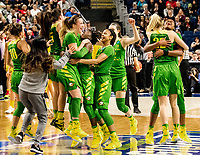 """3/25/17-Bridgeport, Ct. - Oregon stuns Marlyland in the """"sweet sixteen"""" for their second upset victory as they advance to the """"elite eight"""", 77-63 on Monday, 3/27."""