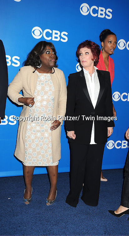 cast of The Talk, Sheryl Underwood, Sara Gilbert, Sharon Osbourne,  attends the CBS Upfront 2012 at The Tent at Lincoln Center in New York City on May 16, 2012.