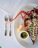 USA, California, Los Angeles, food shot of a grilled lobster at The Lobster Restaurant in Santa Monica