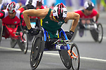 Wheelchair athletes start the marathon from Tianamen Square, Beijing, with Australia's Kurt Fearnley leading from the gun.