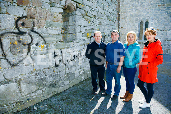 vandalism at Ardfert Cathedral over the bank holiday weekend. Pictured  Locals Donal Stack, Cathedral Tour Guide,  Justin Horgan, Ardfert development association Barbara O'Grady,  and Angela Ryan, Ardfert Community Centre Council