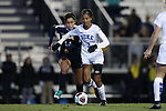 DURHAM, NC - NOVEMBER 11: Duke's Imani Dorsey (3) and UNCG's Quiqui Hita (14). The Duke University Blue Devils hosted the UNCG Spartans on November 11, 2017 at Koskinen Stadium in Durham, NC in an NCAA Division I Women's Soccer Tournament First Round game. Duke won the game 1-0.