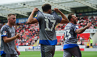 Lincoln City's Tyler Walker, centre, celebrates scoring the opening goal with team-mates Joe Morrell, left, and Neal Eardley<br /> <br /> Photographer Chris Vaughan/CameraSport<br /> <br /> The EFL Sky Bet Championship - Rotherham United v Lincoln City - Saturday 10th August 2019 - New York Stadium - Rotherham<br /> <br /> World Copyright © 2019 CameraSport. All rights reserved. 43 Linden Ave. Countesthorpe. Leicester. England. LE8 5PG - Tel: +44 (0) 116 277 4147 - admin@camerasport.com - www.camerasport.com