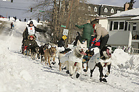Rudi Niggemeier team in Anchorage on Saturday March 1st during the ceremonial start day of the 2008 Iidtarod Sled Dog Race.