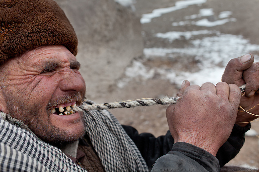 Shukr Ali tying up a load with his teeth on a yak. In Langar..Trekking back down from the Little Pamir, with yak caravan, over the frozen Wakhan river.