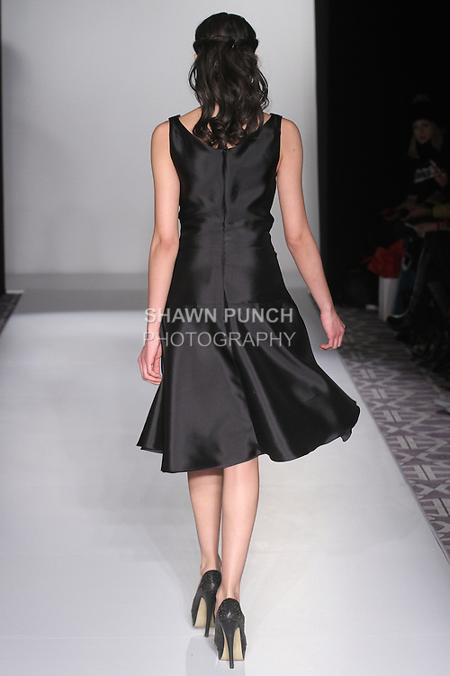 Model walks runway in an outfit from the Leanne Marshall Fall Winter 2016 collection, at Fashion Gallery New York Fashion Week, during New York Fashion Week Fall 2016.