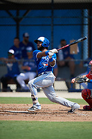 Toronto Blue Jays Jesus Lopez (25) at bat during an Instructional League game against the Philadelphia Phillies on September 27, 2019 at Englebert Complex in Dunedin, Florida.  (Mike Janes/Four Seam Images)