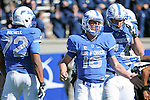 October 24, 2015 - Colorado Springs, Colorado, U.S. - Air Force quarterback, Karson Roberts #16, rushes for four touchdowns and catches a pass for another during the NCAA Football game between the Fresno State Bulldogs and the Air Force Academy Falcons at Falcon Stadium, U.S. Air Force Academy, Colorado Springs, Colorado.  Air Force defeats Fresno State 42-14.
