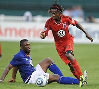 DC United forward Joseph Ngwenya (11) goes against Everton midfielder Victor Anichebe (8)   Everton defeated DC United 3-1 in a international friendly ,at RFK Stadium, Saturday July 23, 2011.