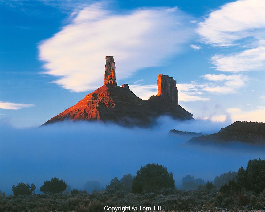 Castle Rock in Fog, Castle Valley, Utah   Proposed La Sal Waters Wilderness   Also called Castleton Tower and Chevrolet Rock     Near Moab, Utah     Castle Valley, Utah Colorado River