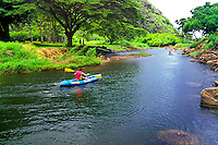 Kayaking down the Waimea River downstream from Waimea Falls in what is now the Audobon Park on Oahu's north shore.