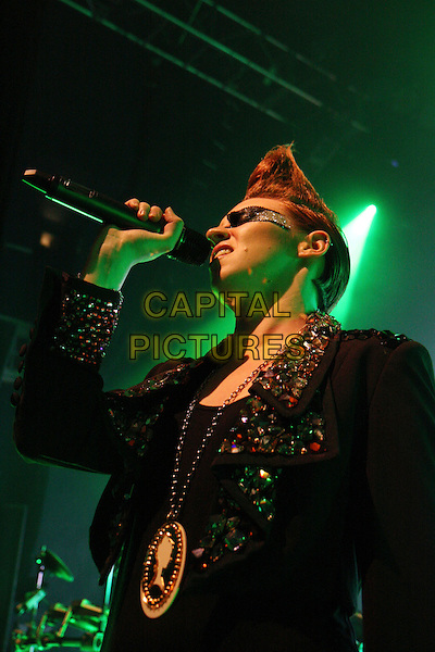 LA ROUX (Eleanor Jackson).Performing live at Shepherd's Bush Empire, London, England..November 26th, 2009.stage concert gig performance music half length black jacket embellished jewel encrusted collar hair mohawk make-up singing necklace eye.CAP/MAR.© Martin Harris/Capital Pictures.