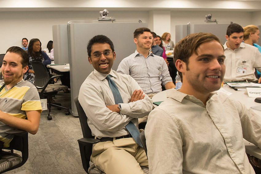 [From left] first year medical students, Jaffer Babaa, Vishnu Gudimetla, William Pender, Lucas Beven and Gregory Mancini, all react to the humor of Isaac Kirstein, D.O., Dean of the Cleveland campus, where they are attending the new Cleveland Campus for the Ohio University Heritage College of Osteopathic Medicine located at the Cleveland Clinic South Pointe Hospital facility in Warrensville Heights, Ohio on Wednesday, July 8, 2015.
