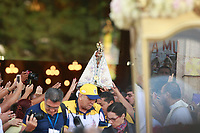 PA - CIRIO/TRASLADO-CIDADE - ** ATENCAO, EDITOR: FOTO EMBARGADA PARA VEICULOS DO ESTADO DO PARA ** das 12  romarias oficiais do Cirio de Nazare comeca  nesta sexta-feira (10) em Belem comeca a primeira das 12 o  traslado da imagem peregrina ate a igreja matriz Ananindeua, municipio vizinho da capital paraense. Esta procissao, que e a maior em duração e distancia percorrida, e realizada desde 1992: apos missa celebrada as 7h, a imagem percorre 55 km pela regiao metropolitana de Belem ao longo de 12 horas de procissao, o cirio  comeca no proximo domingo(12), em Belem. Uma das maiores procissões catolicas do Brasil, o Círio de Nazare, ganho titulo de patrimonio cultural imaterial da humanidade A padroeira da Amazonia e homenageada no principal festejo religioso do Norte do pais. Para os moradores da regiao, o Cirio chega a ser mais importante que o Natal.nesta sexta-feira(10).<br /> Foto: TARSO SARRAF Cirio de Nazaré