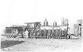 Engineer's-side view of D&amp;RG Ten-Wheeler #161 posing at Chama with the roundhouse crew.<br /> D&amp;RG  Chama, NM