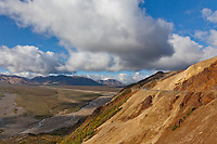 Denali Park road traverses a very steep mountain hillside called Polychrome pass in Denali National Park, Interior, Alaska.