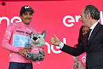 Race leader Richard Carapaz (ECU) Movistar Team retains the Maglia Rosa at the end of Stage 18 of the 2019 Giro d'Italia, running 222km from Valdaora-Olang to Santa Maria di Sala, Italy. 30th May 2019<br /> Picture: Gian Mattia D'Alberto/LaPresse | Cyclefile<br /> <br /> All photos usage must carry mandatory copyright credit (© Cyclefile | Gian Mattia D'Alberto/LaPresse)