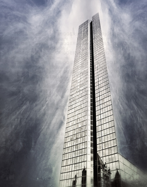 A Boston skyscraper in a cloudy texture day.