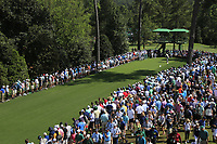 John Rahm (ESP) on the 18th tee during the 1st round at the The Masters , Augusta National, Augusta, Georgia, USA. 11/04/2019.<br /> Picture Fran Caffrey / Golffile.ie<br /> <br /> All photo usage must carry mandatory copyright credit (&copy; Golffile | Fran Caffrey)