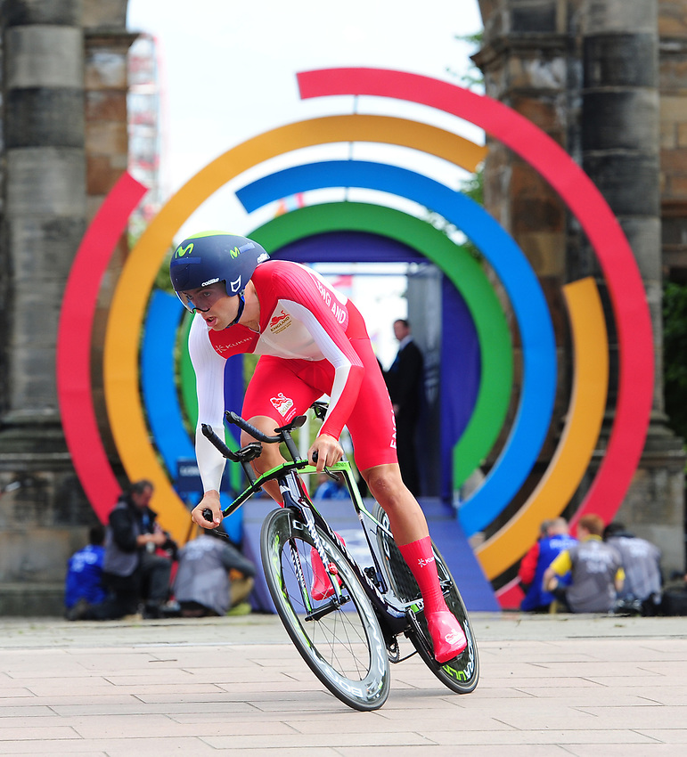 England's Alex Dowsett sets off on his time trial<br /> <br /> Photographer Chris Vaughan/CameraSport<br /> <br /> 20th Commonwealth Games - Day 8 - Thursday 31st July 2014 - Cycling - time trial - Glasgow - UK<br /> <br /> © CameraSport - 43 Linden Ave. Countesthorpe. Leicester. England. LE8 5PG - Tel: +44 (0) 116 277 4147 - admin@camerasport.com - www.camerasport.com