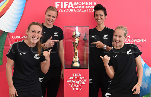 11.02.2015. Annalie Longo, Cushla Lichtwark, Abby Erceg and Katie Hoyle. FIFA Women's World Cup 2015. Live Your Goals Tour. Auckland. New Zealand. Wednesday 11 February 2015.