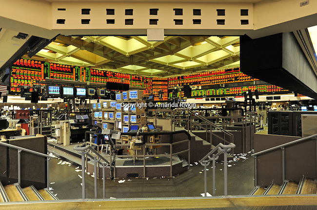 The empty trading floor after the closing bell at the CME Group in Chicago, Illinois on October 10, 2008 .