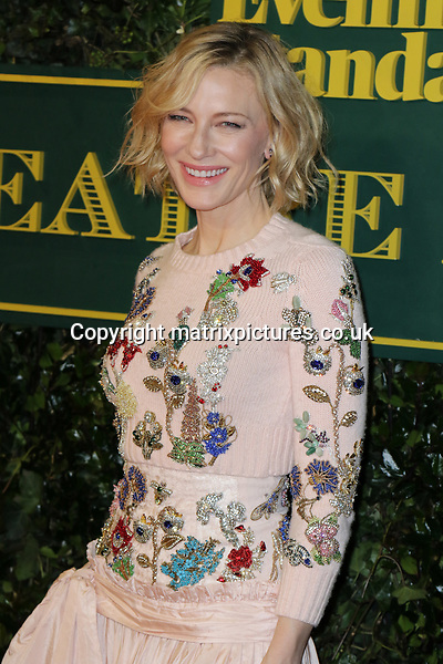 NON EXCLUSIVE PICTURE: MATRIXPICTURES.CO.UK<br /> PLEASE CREDIT ALL USES<br /> <br /> WORLD RIGHTS<br /> <br /> Kate Blanchett attends the Evening Standard Theatre Awards 2017 at Theatre Royal, Drury Lane in London. <br /> <br /> DECEMBER 3rd 2017<br /> <br /> REF: MES 172784