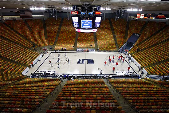 arena. Logan - Utah State vs. Louisiana Tech, NCAA college basketball.